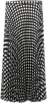 Theory Geometric-Print Pleated Skirt
