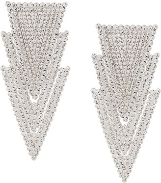 Alessandra Rich Crystal-Embellished Triangle-Drop Earrings