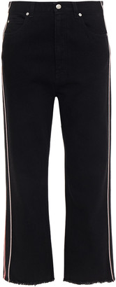 Alexander McQueen Cropped Striped High-rise Straight-leg Jeans