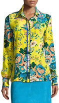 Diane von Furstenberg Floral-Print Long-Sleeve Silk Shirt, Multicolor