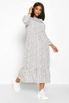 boohoo Plus Polka Dot Ruffle Hem Midi Dress