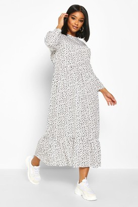 boohoo Plus Polka Dot Ruffle Hem Midi Dress
