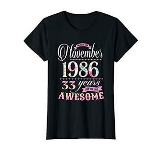 Womens 33 Years Old Shirt Made in November 1986 T-Shirt T-Shirt