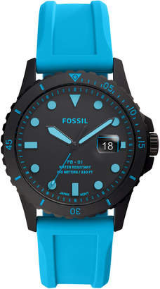 Fossil Men Fb-01 Blue Silicone Strap Watch 42mm