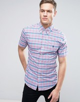 Polo Ralph Lauren Slim Fit Short Sleeved Poplin Shirt In Pink And Green Check