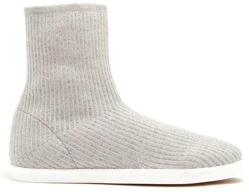 The Row Dean Ribbed Top Leather Trimmed Boots - Womens - Light Grey