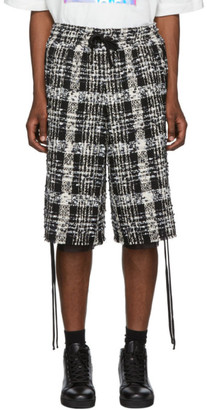 Faith Connexion Black and White Tweed Laced Check Shorts