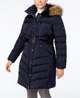 MICHAEL Michael Kors Size Faux-Fur-Trim Belted Puffer Coat