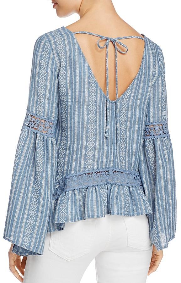 Vintage Havana Crochet Bell Sleeve Top