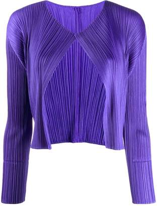 Pleats Please Issey Miyake micro-pleated cropped jacket