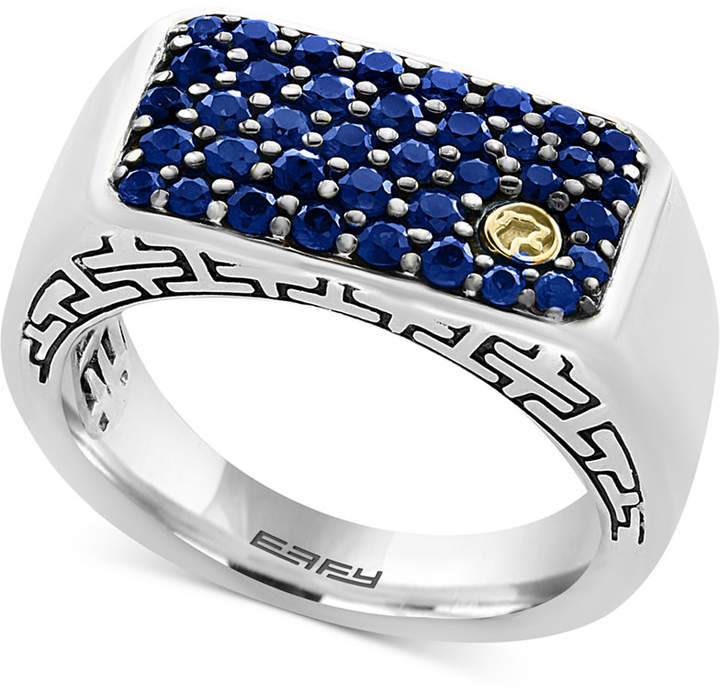 Effy Men Sapphire Ring (1-3/8 ct. t.w.) in Sterling Silver and 18k Gold