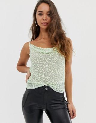 Asos Design DESIGN embellished sequin cami top with cowl neck-Green