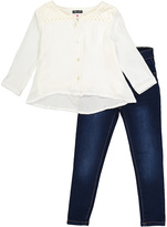 KensieGirl White Button-Up Tunic & Jeans - Toddler
