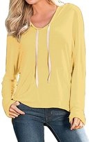 Menglihua Womens Cotton Drawstring Plain Pullover Shirt Hoodies With Kangaroo Pocket