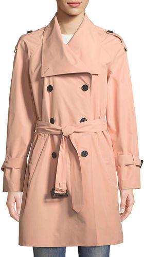 Mackage Cinzia Double-Breasted Belted Rain Jacket
