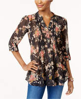 Style&Co. Style & Co Style & Co Petite Printed Pleated Shirt, Created for Macy's