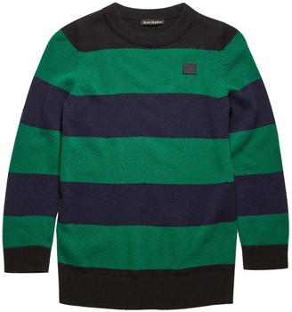 Acne Studios Kids Black And Green Striped Knit Top