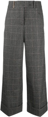 Peserico Checked Wide-Leg Trousers