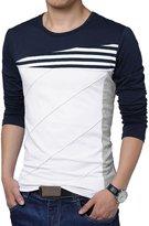 uxcell Allegra K Men Color Block Stripes T-Shirt
