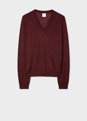 Women's Burgundy V-Neck Wool-Silk Sweater