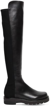 Stuart Weitzman 30mm 5050 Lift Leather & Gabardine Boots