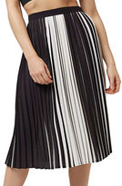 Topshop Striped Pleated Midi Skirt