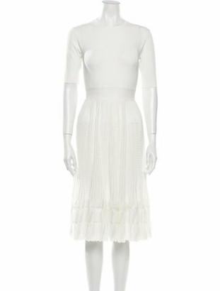Herve Leger Crew Neck Knee-Length Dress White