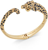 Kate Spade Gold-Tone Yellow Pavé & Jet Stone Cheetah Hinged Cuff Bracelet