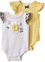 Nannette Baby Girl 2-pk. Daisy & Polka-Dot Bodysuits