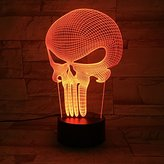 3D Night Lamp night light Desk Lamp - 7 LED Light Colors Optical Illusion - Decorative lamp for your bedroom office - Soft Glow - For kids and adults - Cool light -Safe for kids (Punisher)