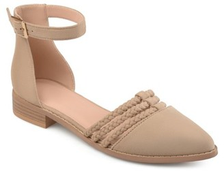 Brinley Co. Womens Faux Suede Ankle Wrap Braided Rope Flats