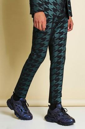 boohoo Mens Green Skinny Metallic Dogtooth Jacquard Suit Trouser, Green