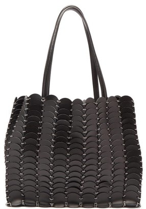 Paco Rabanne Woven Leather Chainmail Tote Bag - Black