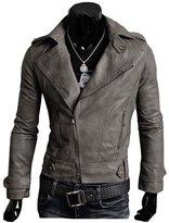 Win8Fong Trendy Men Cargo Pockets Zipper Casual PU / FAUX Leather Winter Slim Jacket (, L)