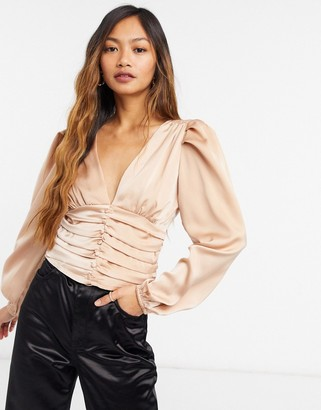 Forever U silky blouse with ruched detail in champagne