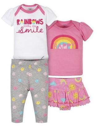 Gerber Baby Girl Onesies Bodysuit, Shirt, Skirted Panty, and Pant Set, 4pc