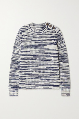See by Chloe Button-embellished Space-dyed Knitted Sweater - Blue