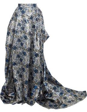 Carolina Herrera Draped Pleated Brocade Maxi Skirt