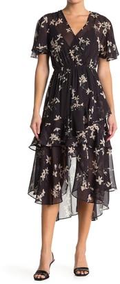 Love Stitch Floral Ruffle Midi Dress