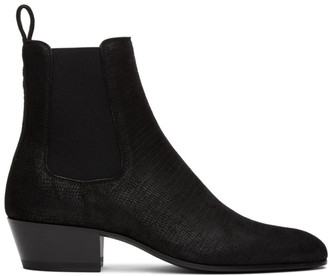 Saint Laurent Black Lizard Cole Chelsea Boots
