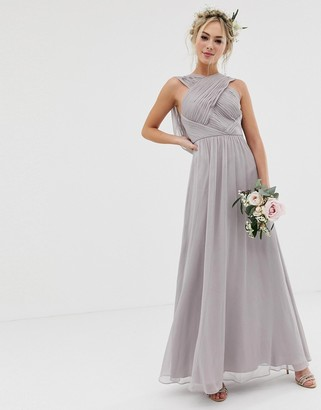 Asos Design DESIGN Bridesmaid cross front soft drape maxi dress-Grey