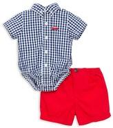 Little Me Infant Boys' Gingham Car Bodysuit & Shorts Set - Baby