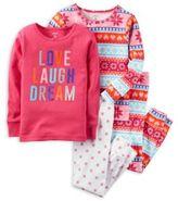 "Carter's 4-Piece ""Love Laugh Dream"" Fair Isle Pajama Set in Pink"