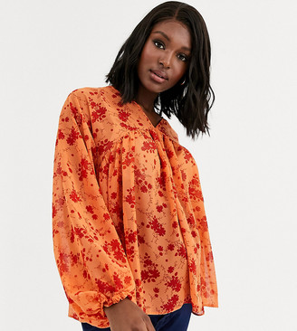 ASOS DESIGN Maternity v neck smock top in floral print-No Color