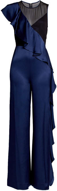 Diane von Furstenberg Silk Jumpsuit with Ruffles