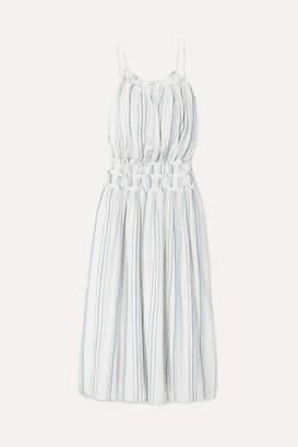 Frame Shirred Striped Cotton-voile Midi Dress - White