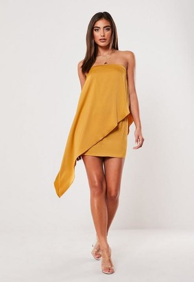 Missguided Petite Mustard Drape Front Mini Dress