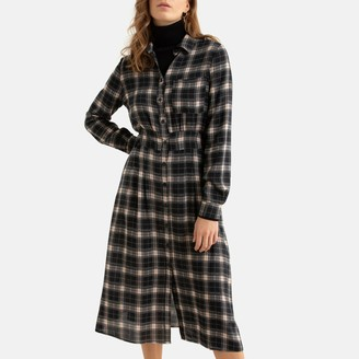 See U Soon Checked Buttoned Midi Shirt Dress with Long Sleeves
