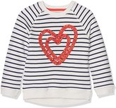 Mothercare Baby GirLong Sleeve Farm Long Sleeve Cream Stripe Heart Brushback Sweat Jumper
