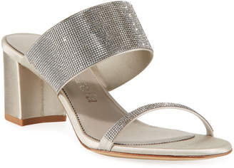 Pedro Garcia Xina Crystal-Embellished Satin Mule Sandals